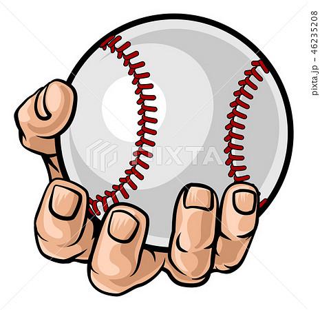 Hand Holding Baseball Ball 46235208
