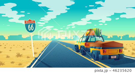 tourist concept - desert with jeep, trailer 46235620