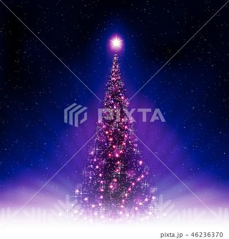 Christmas blue postcard with shiny Christmas tree. 46236370