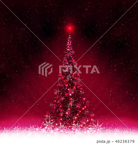 Dark pink card with shiny Christmas tree and white snowflakes. 46236379