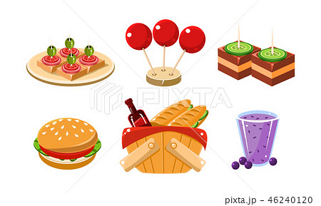 Flat vector set of food and drink icons. Traditional french picnic snacks and beverages. Cartoon 46240120