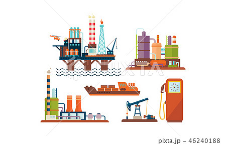 Flat vector set of oil and gas production industry icons. Oil platform, ship, factory buildings and 46240188