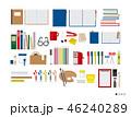 シンプルな文房具 ラウンドレイアウト 46240289
