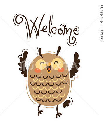 A happy owl greets Welcome. Vector illustration in cartoon style 46243255