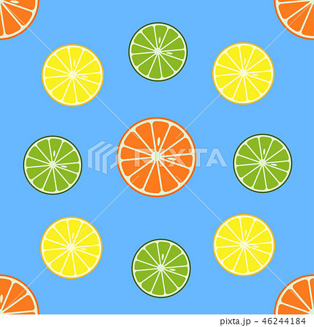 Seamless pattern with orange and lemon fruits. 46244184