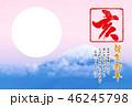 亥年 2019年用フォトフレーム(円形)付き年賀状デザインテンプレート 46245798