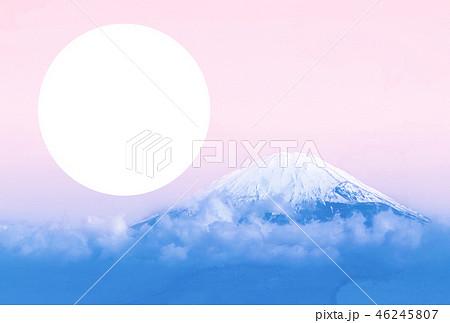 フォトフレーム(円形)付き 富士山年賀状デザインテンプレート 46245807