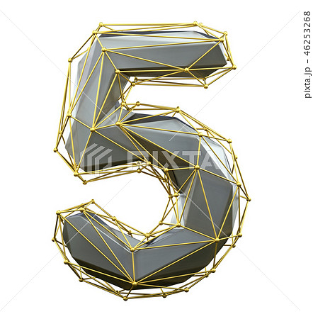 Low poly style number 5. Silver and gold color isolated on white background. 3d 46253268