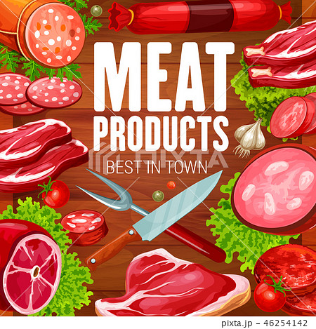 Butcher meat and sausages grocery products shop 46254142