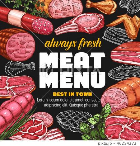 Butcher shop meat sausages sketch menu 46254272