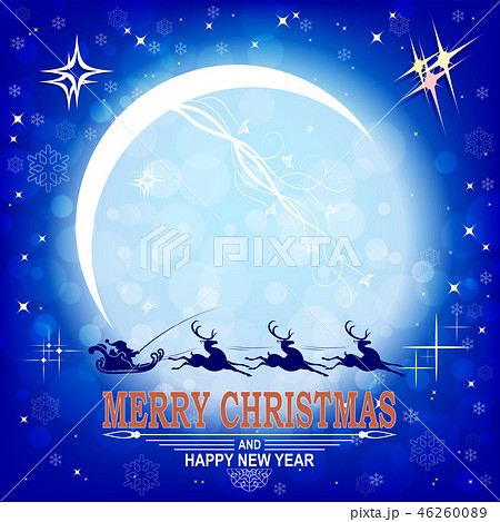 Christmas postcard with big bright moon and Santa Claus in a sleigh on a reindeer. 46260089