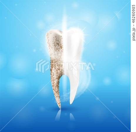 Realistic Illustration Tooth Clean in 3d Vector 46260985
