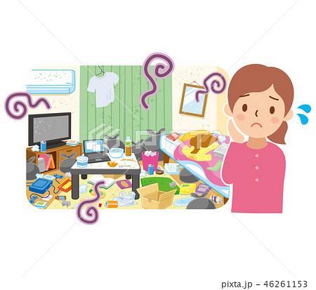 汚れた部屋と困る女性 46261153