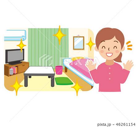綺麗な部屋と喜ぶ女性 46261154