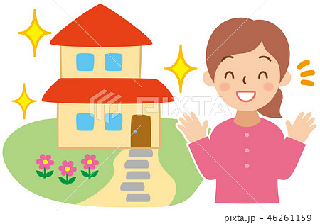 綺麗な家と喜ぶ女性 46261159