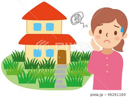 雑草だらけの家と困る女性 46261160