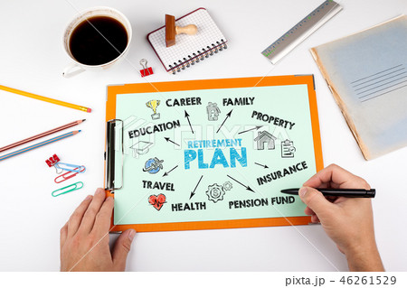 Retirement Plan concept. Chart with keywords and icons 46261529