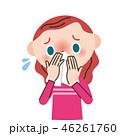鼻水 風邪 女の子のイラスト 46261760