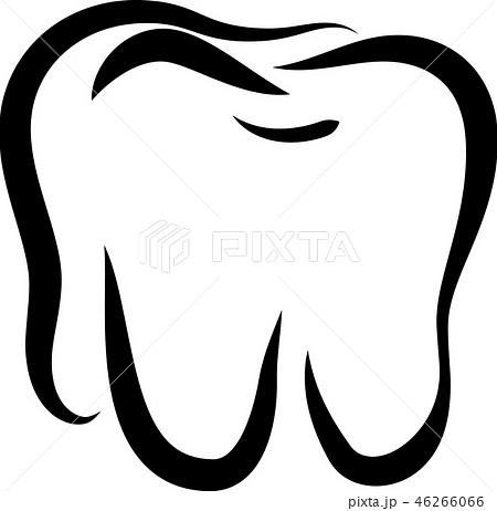 歯 線画 デンタルケア ロゴマーク スタイリッシュ イラストのイラスト