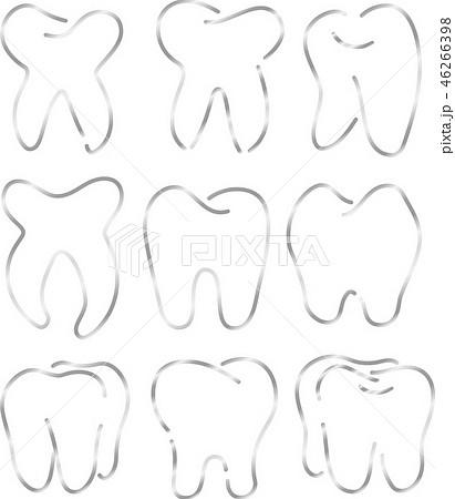 歯 歯科 デンタルケア シンプル 線画 イラスト 46266398