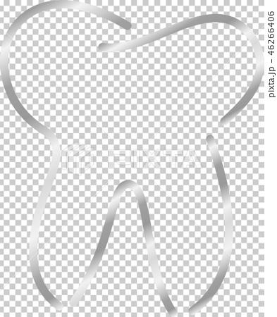 歯 歯科 デンタルケア シンプル 線画 イラスト 46266406