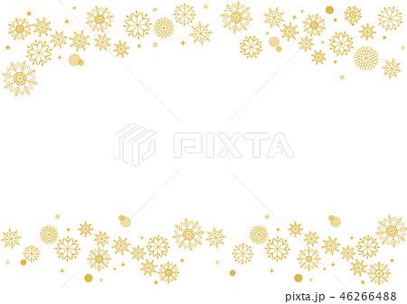 雪の結晶 シンプル冬のフレームゴールドのイラスト素材 46266488
