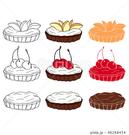 Set of sweet tartlets with different toppings  46268454