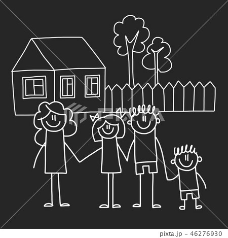 Happy family with house. Kids drawing style vector illustration isolated on blackboard background 46276930