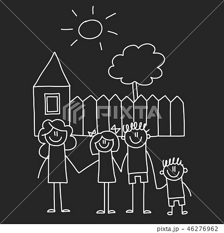 Happy family with house. Kids drawing style vector illustration isolated on blackboard background 46276962