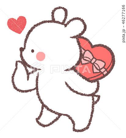 シロクマバレンタインチョコ隠しのイラスト素材 46277166 Pixta