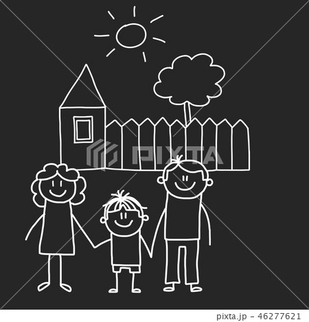 Happy family with house. Kids drawing style vector illustration isolated on blackboard background 46277621