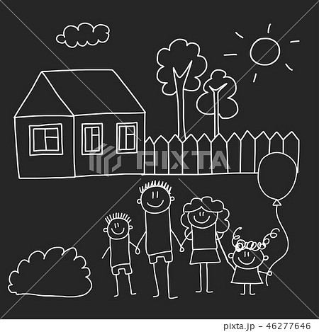 Happy family with house. Kids drawing style vector illustration isolated on blackboard background 46277646