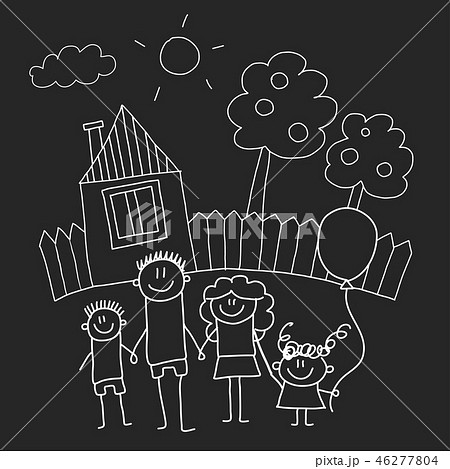Happy family with house. Kids drawing style vector illustration isolated on blackboard background 46277804