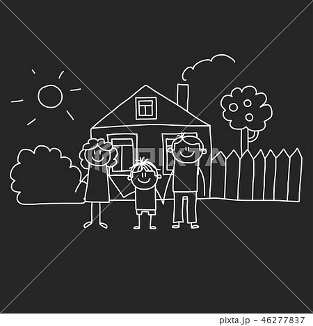 Happy family with house. Kids drawing style vector illustration isolated on blackboard background 46277837
