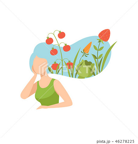 Young beautiful woman with vegetables in her hair, healthy eating, diet, organic vegan food vector 46278225