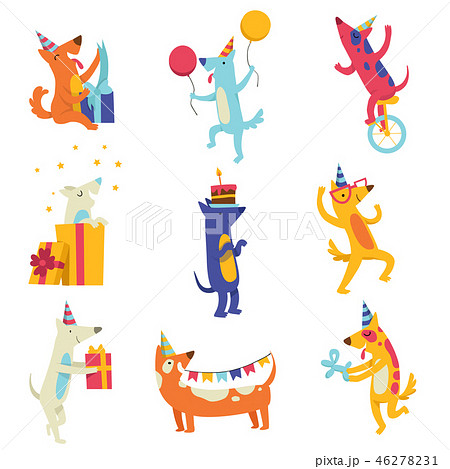 Collection of cute dogs in party hats, funny cartoon animal characters having fun at birthday party 46278231