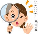 女性 虫眼鏡 調査のイラスト 46292840