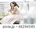 女性 リラックス カフェの写真 46294585