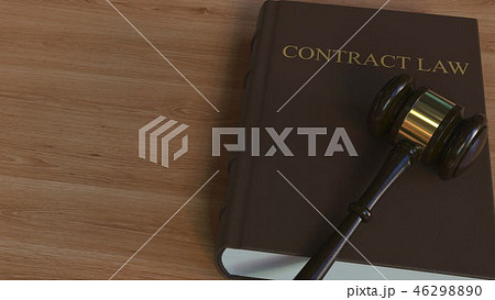 Court gavel on CONTRACT LAW book. Conceptual 3D rendering 46298890