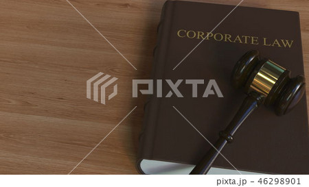 CORPORATE LAW book and judge gavel. 3D rendering 46298901