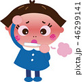 発熱 風邪 女の子のイラスト 46299141