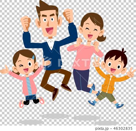 跳躍父母和兒童兄弟的家庭愉快 46302835