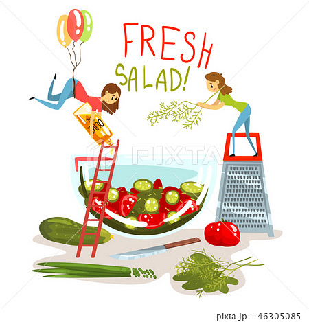 Fresh salad, little women cooking green salad, design element for banner, poster, greeting card 46305085
