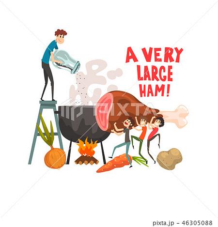 A very large ham, little men cooking huge piece of ham, design element for banner, poster, greeting 46305088