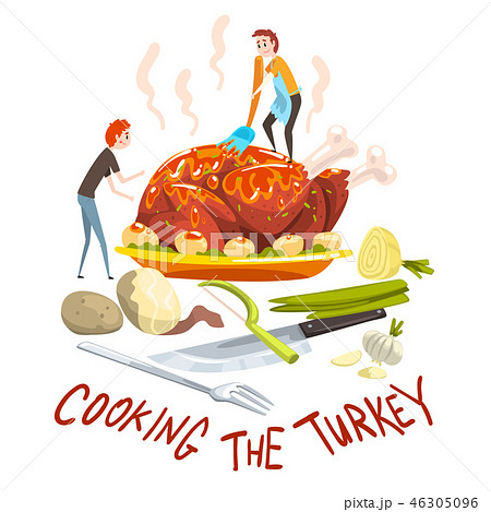 Cooking the turkey, two little men cooking huge festive turkey for Thanksgiving day or Christmas 46305096