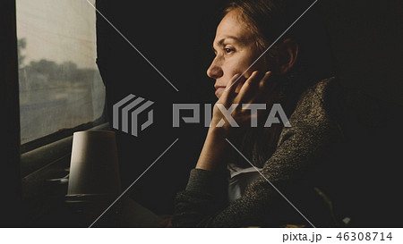 Vintage style image of young women looking out of window in asian train 46308714