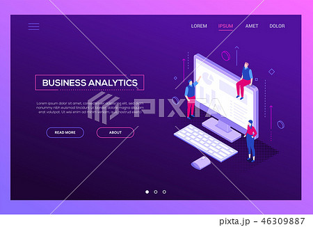 Business analytics - modern isometric vector web banner 46309887