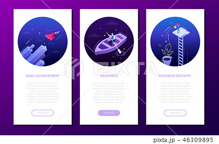 Goal achievement - set of isometric vector vertical web banners 46309895