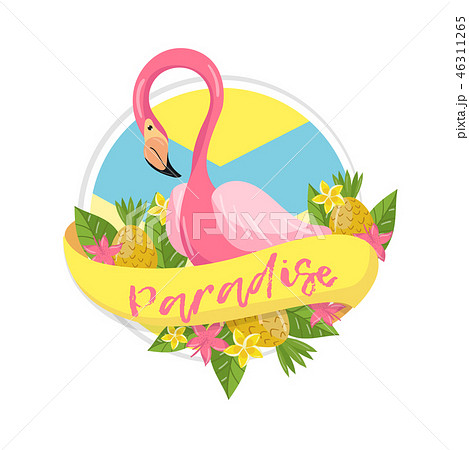 Paradise tropical summer label, design element with palm leaves, flowers, pineapples and flamingo 46311265