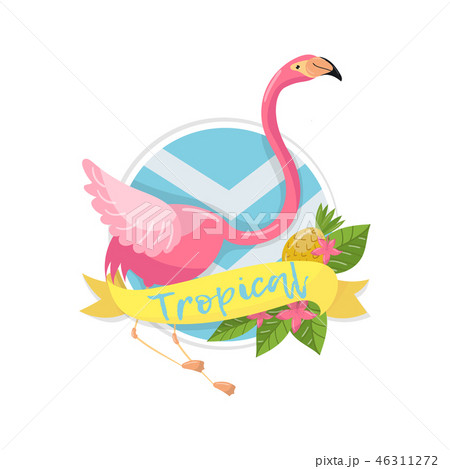 Tropical summer label, design element with palm leaves, flowers, pineapples and flamingo vector 46311272